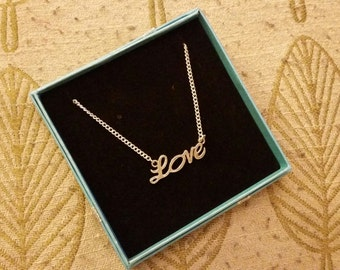 Love Script Pendant Necklace