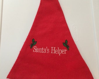 "18"" Embroidered Christmas Felt Santa Hat ""Santa's Helper"" – monogrammed"