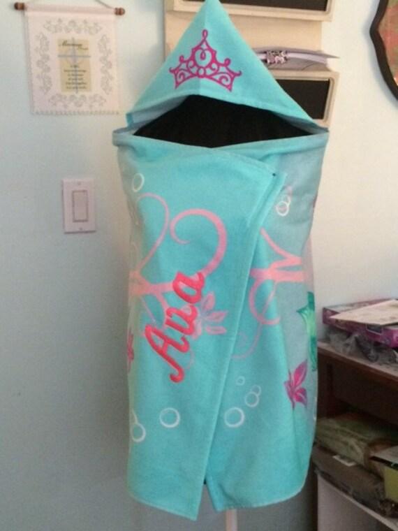mermaid hooded towel bath wrap ariel towel personalized