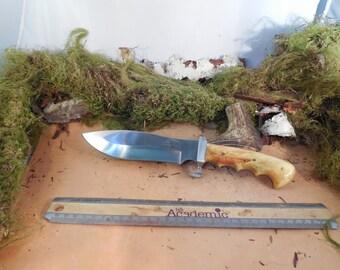 THOR hunting knife Flame Box Elder wood Handle