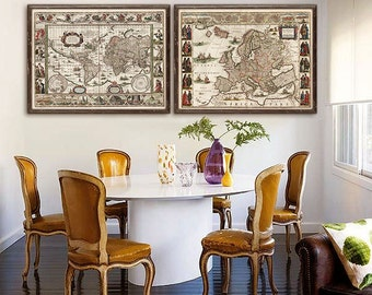 """Europe map 1635, Old map of Europe in 4 sizes up to 48x36"""" (120x90cm) Baroque European map in sepia or colored - Limited Edition of 100"""