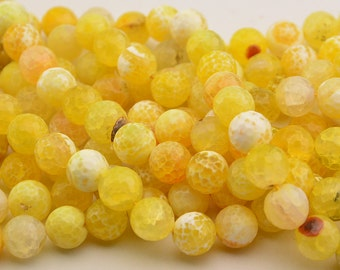 15 Inch Full Strand  Lemon  Yellow  Exotic  Fire  Agate 12MM   Faceted Round  Bead