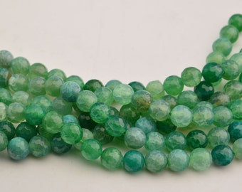15 Inch Full Strand  green  Exotic  Fire  Agate 10MM   Faceted Round  Bead