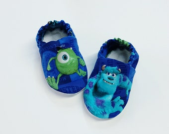 Handmade Soft Sole Baby Moccs / Moccasins / Booties / Crib Shoes / Slippers Monsters Inc Mike and Sully