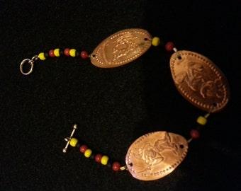 Beaded pressed penny Mickey Mouse bracelet