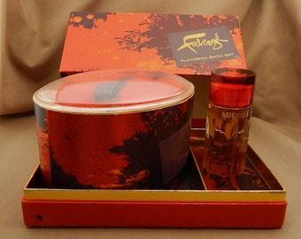 Faberge Flambeau Bath Set, 5 Oz. Flambeau Bath Powder and 1 Oz. Flambeau Cologne, Vintage Faberge Set