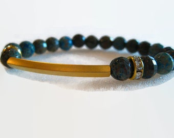 Landscaped Agate Gemstone Bracelet with a Gold Tube Bead