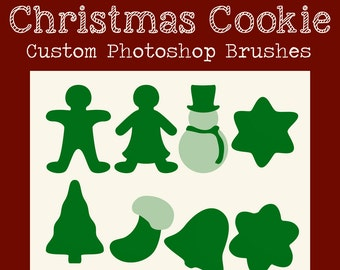 SALE! Set of 8 Cristmas Cookie Shaped Custom Brushes for Photoshop for Photographers, Digital Scrapbooks, and Graphic Designers