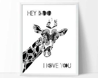 Nursery art, art, printable wall art, downloadable print, baby birthday gifts, nursery decor, kids playroom, Black/White,Giraffe, I love You