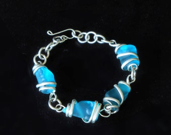 Aqua Marine Beach Glass with Silver-tone Metal