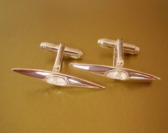 One Pair Sterling Silver Canoe Cufflinks In Presentation Box