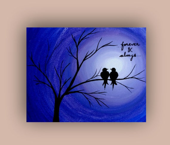 Items similar to greeting card love birds painting print for Acrylic painting on paper tips