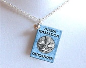 Outlander - Blue - with Tiny Heart Charm - Miniature Book Necklace
