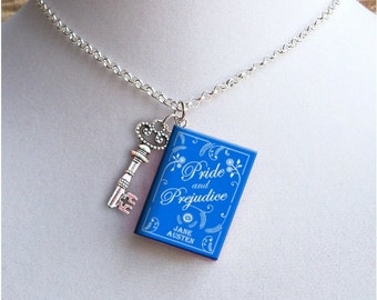 Pride And Prejudice with Large Key  Charm - Miniature Book Necklace