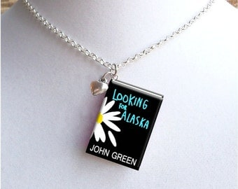 Looking For Alaska - Daisy Cover - With Tiny Heart Charm - Miniature Book Necklace