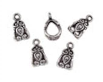Bali Bail Tube with Heart design - 8x10mm - Antique Silver - Pack 3
