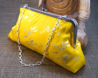 Yellow Bamboo Design Silk Clutch P2