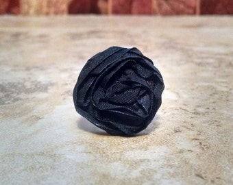 Black Fabric Flower Button Ring Statement Ring
