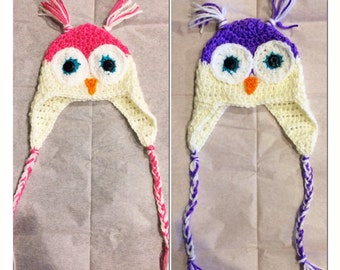 Owl Earflap Hat - Crochet - Customized Color Options - Child - Baby