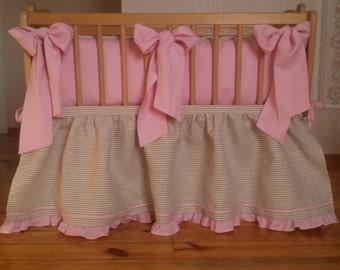 Cradle bedding /// Baby girl pink natural linen soft linen, Nursery bedding