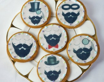 Edible Mr Moustead Moustache and Beard Edible Wafers Rice Paper x 12 Cake Cupcake Biscuit Toppers Tea Party Decoration LARGE 6cm Circles