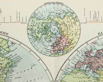 Antique Map, The World in Hemispheres. Published 1890s, Lovely Pastel Colours