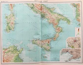 Huge 1922 Antique Map, Southern Italy, Sicily, Sardinia, Corsica