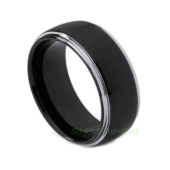 mens wedding ring black tungsten promise rings by