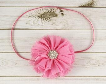 Pink Baby Headband, Hot Pink Headband, Purple Headband, Rhinestone Headband, Shabby Chiffon Headband, Newborn Headband, Shabby Headband