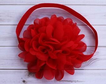 Red Baby Christmas Headband, Red Flower Girl Headband, Red Wedding Headband, Baby Christmas Headband, Red Chiffon Flower Headdband