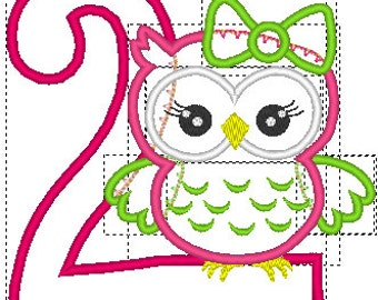 Owl Embroidery design, Owl Embroidery Applique, 2nd birthday embroidery design, Owl 2nd Birthday, Cute Girl Owl machine embroidery