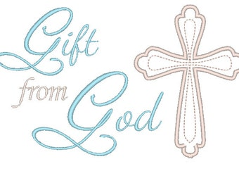 Baptism Embroidery design, Gift from God Embroidery Design, Cross Embroidery Design, Newborn Embroidery Design, New Baby Embroidery Design