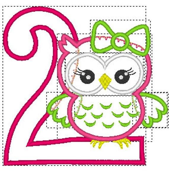 eule stickerei design owl stickerei applique 2 geburtstag. Black Bedroom Furniture Sets. Home Design Ideas