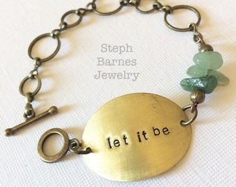 Let it be bracelet in bronze with jade detail