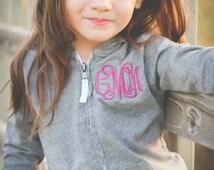 Infant/Toddler/Girls Monogrammed Lightweight Jacket/Hoodie 6m, 12m, 18m, 24m, 3t, 4t, 5t, 6x, s, m, l, xl