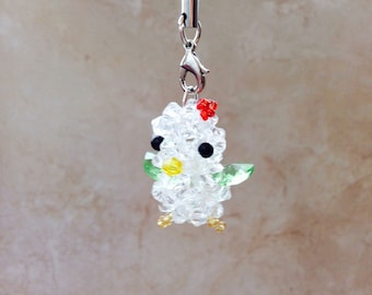Mini Small Green Chick Duck Bead Crystal Cellphone Cell Phone Charm Zipper Pull Keychain