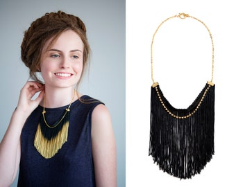 Black Fringe Necklace, Black Statement Necklace, Dramatic Necklace, Tassel Necklace, Holiday Jewelry
