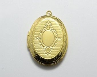 10pcs Oval Lockets in Gold, Vintage Locket, Photo Locket for 17mm x 24mm Oval Photos, Locket Supplies #SD-S7388