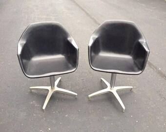 PAIR Vintage Mid Century Black Fiberglass Swivel Shell Chairs