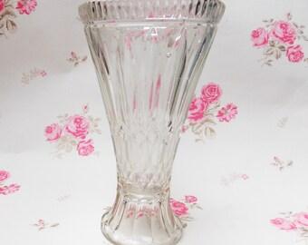 Glass Vase, Vase, Clear Glass, Vintage Home, Art Deco, 1930s Vase, Art Deco Vase, Pressed Glass, Patterened Glass, Dressing Table - 1930s