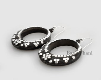 Handcrafted Black Wood 925 Sterling Silver Earring #1881
