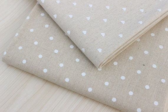 tissu pois laiteux tissu de lin coeur blanc tissu en lin. Black Bedroom Furniture Sets. Home Design Ideas