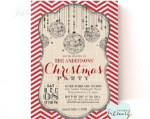 Christmas Party Invitation - Holiday Invitation - Red Chevron - Ornaments - Printable No.436