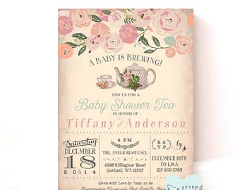Baby Shower Tea Party Invitation - A Baby is Brewing - Vintage Peach Background - Tea Party Invite // Printable No.734