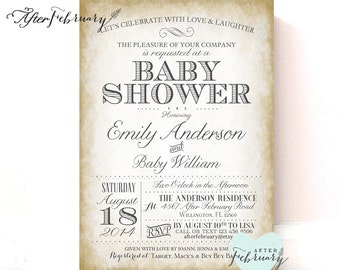 Printable Baby Shower Invitation Formal Baby Shower Invite Gender Neutral Baby - Classic Vintage Beige Gray Printable OR Printed No.545BABY