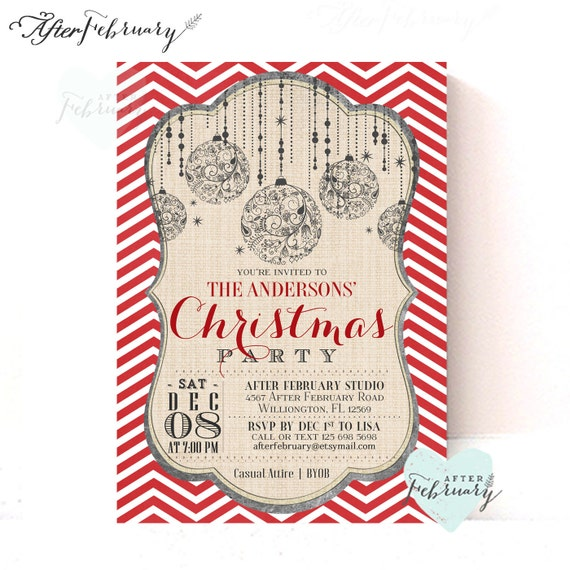 Christmas Party Invitation - Holiday Invitation - Red Chevron - Ornaments - Printable No.436