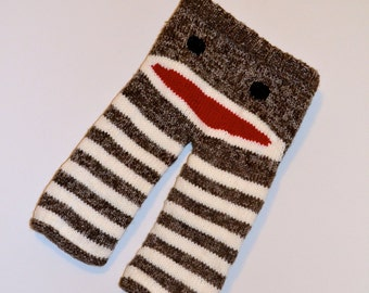 Children's Unisex Hand Knit Sock Monkey Booty Pants - Ready To Ship