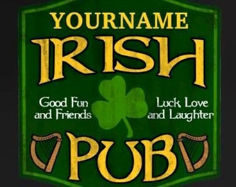 "Irish Pub Sign 6""X6"" gloss white hardboard tile."