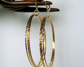 Tri Metal Gold Silver Copper Bangle Trio Hoop Earrings