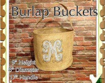 Personalized Burlap Buckets